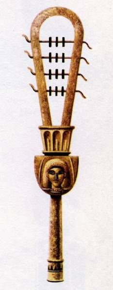 Sistrum (Musical Instrument) - The effect produced by the sistrum in music - when shaken in short, sharp, rhythmic pulses - is to arouse movement and activity. The rhythmical shaking of the sistrum, like the tambourine, is associated with religious or ecstatic events, shaken as a sacred rattle in the worship of Hathor, Sekhmet, Isis, Bastet and other aspects of the Goddess
