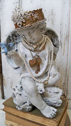 So need to find one of these beauties at a yard sale!!  Angel statue shabby chic elaborate hand made by AnitaSperoDesign, $270.00