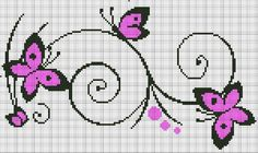 Cross-stitch Butterflies  Swirls ... no color chart available, just use the pattern chart as your color guide.. or choose your own colors...  Papillons