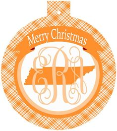 Tennessee UT Monogrammed Christmas Ornament, Tennessee ornament | Brant Point Prep