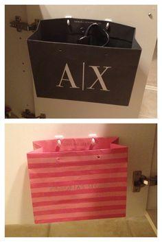 Command hooks + shopping bag = extra storage & organization