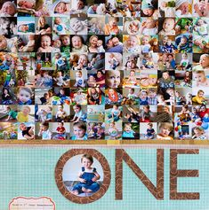 Question: How do you put 97 PHOTOS on ONE 12x12 LAYOUT (a whole year of snapshots)?.... ANSWER: make a well organized 1x1 photo collage!....  great layout by Susan Weinroth