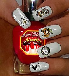 Picture 2 of 4 Army Nail Art, Cat Nail Art, Cat Nails, Usmc Nails, Marine Nails, Light Colored Nails, Light Nails, Tattoos With Kids Names, Tattoos For Women Small