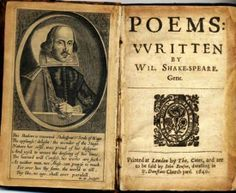 Rare 17th century book of poetry by William Shakespeare; published by John Benson, 1640.
