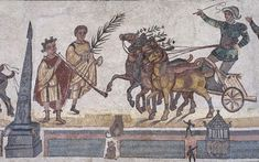 Et surtout de splendides mosaïques. Ici, dans la Palestra (gymnase), Représentation d'une course de chars dans le Circus Maximus à Rome