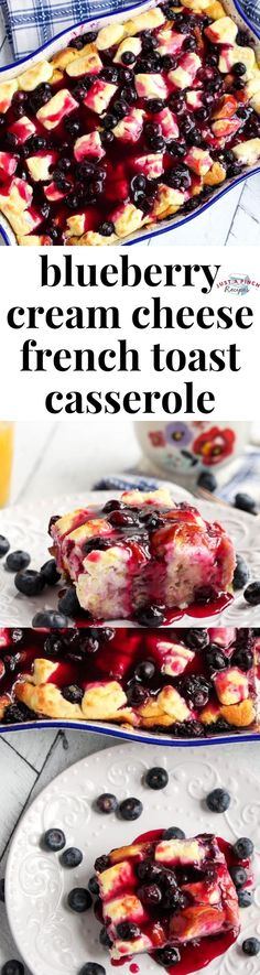 Blueberry Cream Cheese French Toast Casserole is an easy and delicious brunch casserole or breakfast casserole recipe! Blueberry Cream Cheese French Toast Casserole is an easy and delicious brunch casserole or breakfast casserole recipe! Cinnamon Roll French Toast, Banana French Toast, Pumpkin French Toast, French Toast Bake, Blueberry French Toast Casserole, Baked French Toast Casserole, Brunch Casserole, Casserole Recipes, Meat Recipes