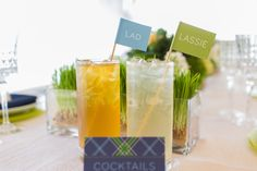 Signature Drinks for a golf wedding. The Lad and Lassie drink stirrers are too cute. Image Credits: Thompson Photography Group