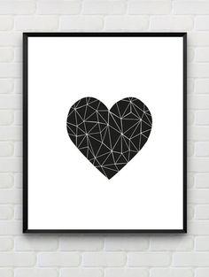 Polygon Wall Art, Printable Heart Print, Valentines Day Print, Geometric Wall Art Black White Minimalist Scandinavian Print Instant Download
