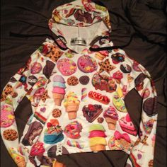 Kawaii rainbow junk food hoodie Greatest hoodie ever! It's covered in brightly covered junk food front and back. It's on the shorter side - not quite a crop top, but not a full length hoodie either. Jackets & Coats