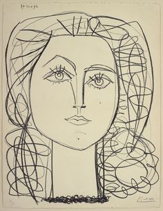 Pablo Picasso / Françoise, June 14, 1946 / Lithograph in black on ivory wove paper