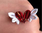 kanzashi flowers Barrette or brooch  heart with wings both for hunman and BJD