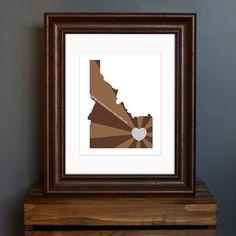 Idaho Art Print - State of Love - Home is wherever I'm with you quote - personalized gift or wall decor - brown and gray - 8 x 10