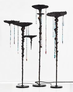 Haliocyano Fingiagigantea (Mushroom Coral Standing Chandelier) Bronze, granite, LED, silicone, graphite and polyester resin 75 x 63 x 332 / 100 x 80 x 306 / 133 x 68 x 259 cm Edition of 5 + 1 AP Kenyan Artists, Kelp Forest, Stained Table, Led Fixtures, The V&a, Life Design, Crystal Ball, Natural World, Wind Chimes