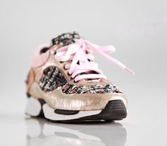 "LIMITED EDT ""The Barbie"" Pink Gold Tweed Sneakers"