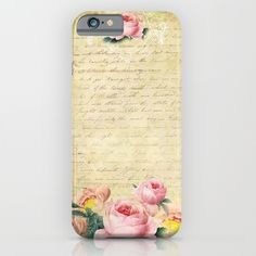 #pretty #romantic #beautiful #vintage #roses #rose #flowers #floral #oldletter #cases Iphone & Ipod skins. Available in different #society6 #homedecor products too.