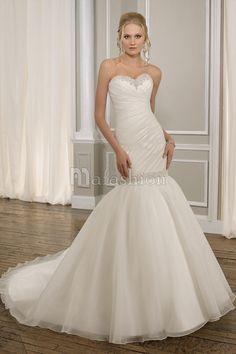 Robe de Mariée Romantique de Sirène Longueur au Ras Du Sol Avec Perle