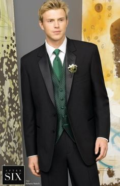 What groom and groomsmen would wear if bridesmaids are in emerald green!