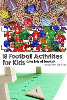 18 Football Activities for Kids - learning, sensory, games, lots of books, and more! Perfect for toddlers, preschoolers, and older kids, too.