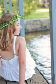 When we lived on a lake. Water photos; made a crown from boxwood and found a white dress at the thrift shop.