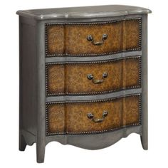 3-drawer chest with embossed floral facings and nailhead trim.  Product: ChestConstruction Material: Birch and M...