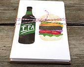 set of 4 - beer food pairings A6 cards