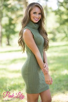This sweet sweater dress features a gorgeous shade of olive green that is sure to impress at any event! We love the soft knitted material and geometric patterns woven into the material - it's such a classic look!