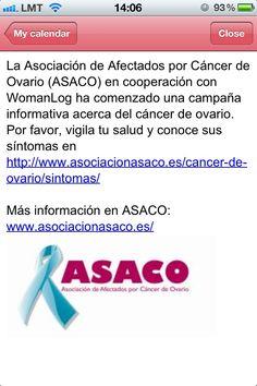 Colaboración Womanlog-ASACO con el objetivo de que la mujer conozca su cuerpo, identifique cualquier anomalía ovárica y consulte a su ginecólogo en caso de dudas ante síntomas persistentes.