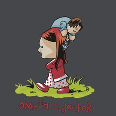 Amelia and the Doctor. Doctor Who/Calvin & Hobbes mashup