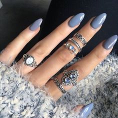 63 Trendy ideas for gel manicure colors winter grey Grey Acrylic Nails, Matte Nails, Blue Nails, Stiletto Nails, Coffin Nails, Gradient Nails, Holographic Nails, Nail Art Designs, Nail Designs Spring