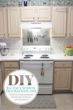 Makeover your kitchen and get the look of tile for just $30 with this faux subway tile painted backsplash tutorial. It's perfect for renters!