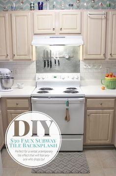 30 Faux Subway Tile Painted Backsplash Tutorial Kitchen DiySubway
