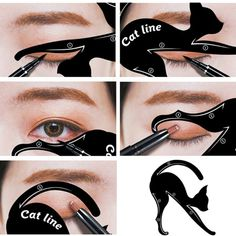 1 set = 2 pcs x Cat Eyeliner Card. 6 pcs x Cat Eyeliner Card. Use your eye shadow first to create the shape then set the look with liquid eyeliner or your eye pencil. Cat Eyeliner Card Size: 7 x cm, x cm. Eyeliner Hacks, Eyeliner Styles, How To Apply Eyeliner, Winged Eyeliner, Bold Eyeliner, Eyeliner Brands, Black Eyeliner, Eyeliner Liquid, Liquid Makeup