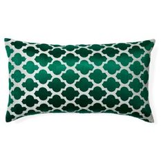 Check out this item at One Kings Lane! Moroccan 14x24 Embroidered Pillow, Green