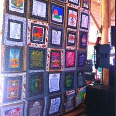 Quilt made of Old Settlers Music Festival T-shirts - 25 years!