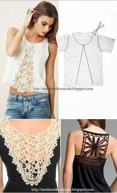 Diy Clothing, Clothing Patterns, Diy Summer Clothes, Sewing Blouses, Derby Dress, Altering Clothes, Denim And Lace, Couture Tops, Refashion