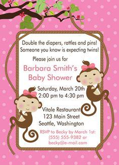 Twin Girls Monkey Baby Shower Invitations