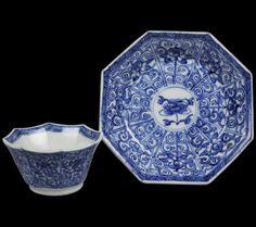 ANITQUE CHINES PORCELAIN FLORAL DESIGNS    Antique Chinese Kangxi Porcelain Floral Design Hexagonal Teabowl ...