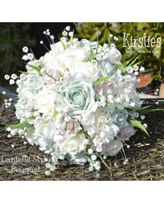 BRIDES BOUQUET Danielle Design Rose, Lily of The Valley, Hydrangea etc - Choose from over 40 colours