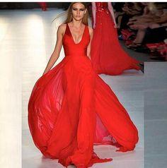 zuhair murad red chiffon evening dress 2016