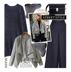 """NYFW Street Style Hair Trend"" by beebeely-look ❤ liked on Polyvore featuring Yves Saint Laurent, Valentino, StreetStyle, NYFW, hairtrend, pinstripes and twinkledeals"