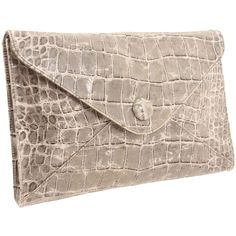 Lodis Accessories Royal Croc Edith Envelope Clutch ($160) ❤ liked on Polyvore