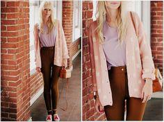 American Apparel Riding Pant, Vintage Cardigan, Vintage Blouse