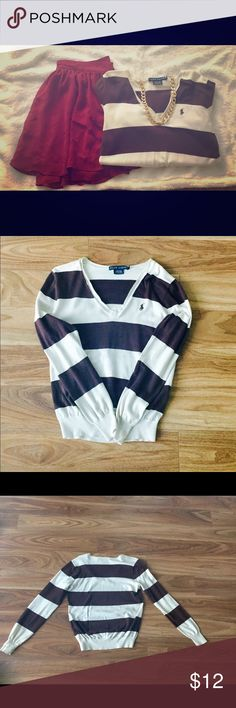 Ralph Lauren v-neck sweater Slim fit. 100% cotton. Small stain (pictured above) hard to see. Smoke free and pet free home. Ralph Lauren Sweaters V-Necks