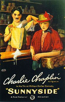 Theatrical poster for Sunnyside  a 1919 American short silent film written, directed and starring Charlie Chaplin.