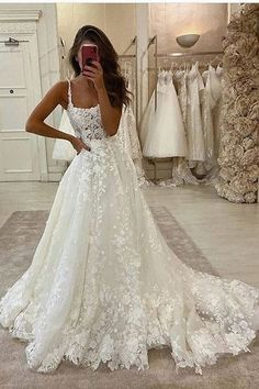 Gorgeous Ball Gown Scoop Neck Open Back Lace Wedding Dresses, Wedding - Source by - de novia de encaje Wedding Dress Mermaid Lace, Wedding Dress Black, Scoop Wedding Dress, Boho Wedding Dress With Sleeves, Open Back Wedding Dress, Top Wedding Dresses, Cute Wedding Dress, Wedding Dress Trends, Mermaid Dresses