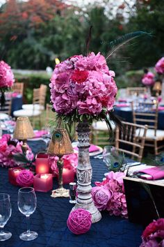 Wedding Inspirations: Navy and Magenta Wedding Keywords: Fuschia Wedding, Gold Wedding, Wedding Colors, Wedding Flowers, Dream Wedding, Trendy Wedding, Pink Table Settings, Wedding Table Settings, Wedding Tables