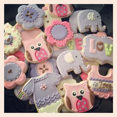 Pink & Lavender Owl and Flower Baby Cookies