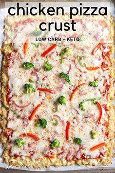 Wow! Chicken crust pizza with a great low carb protein packed crust. #chickenpizzacrust #lowcarbpizza #keto #chickenpizza #ketopizza #dinner #ketodinner