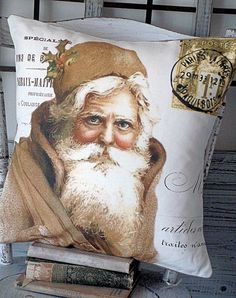 Pillow Cover Holiday Christmas Santa Gold