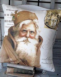 Pillow Cover Holiday Christmas Santa Gold